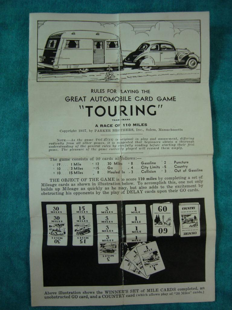 Brettspiel ; Board game ; Jeu de société ; Parker brothers ; 1937 ; Touring
