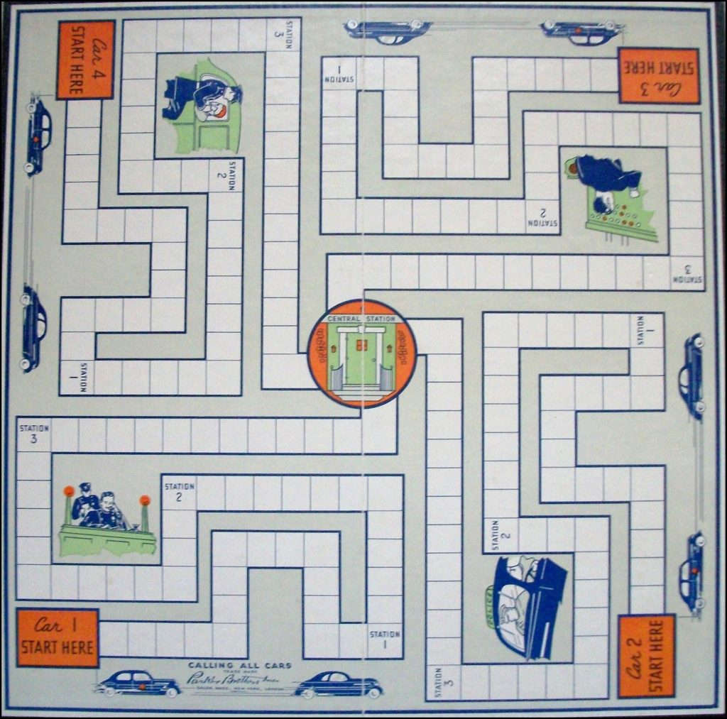 Brettspiel ; Board game ; Jeu de société ; Parker brothers ; 1937 ; Calling all cars