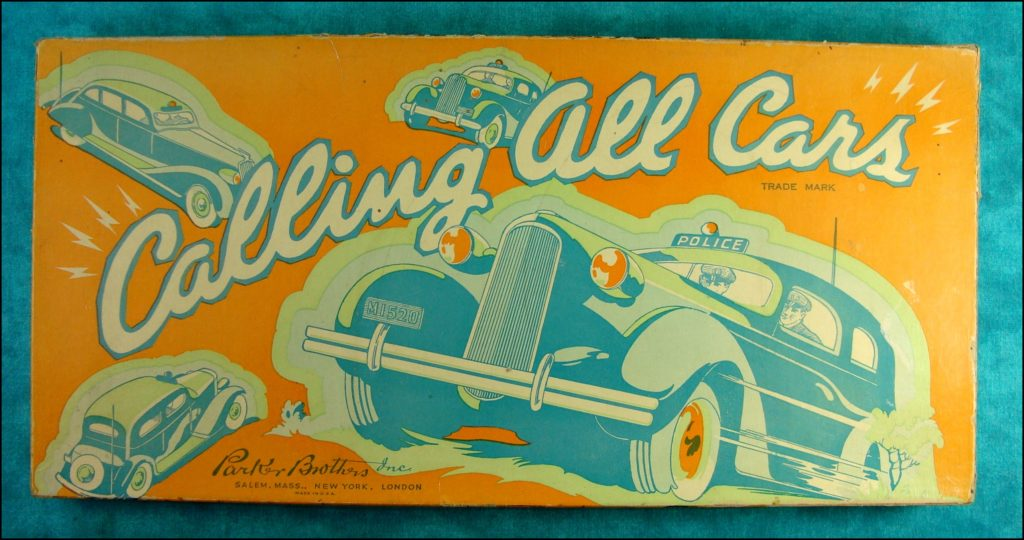 Brettspiel ; Board game ; Jeu de société ; Parker brothers ; 1938 ; Calling all cars
