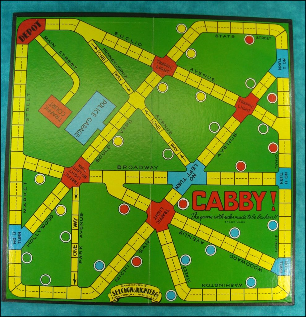 Brettspiel ; Board game ; Jeu de société ; Selchow & Righter ; 1938 ; Cabby! ;