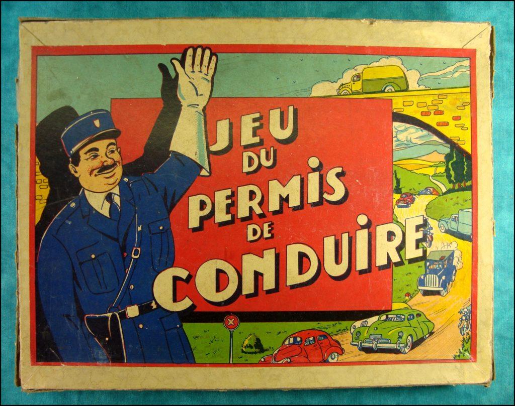 1940/50 - Jeu du permis de conduire ; vintage car-themed board game ; ancien jeu de société automobile ; Antikes Brettspiel Thema Automobil Autospiel ;