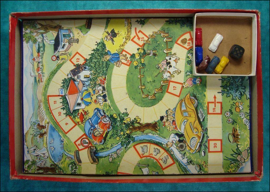 Brettspiel ; Board game ; Jeu de société ;  1945/50 - Autofahrt für alle