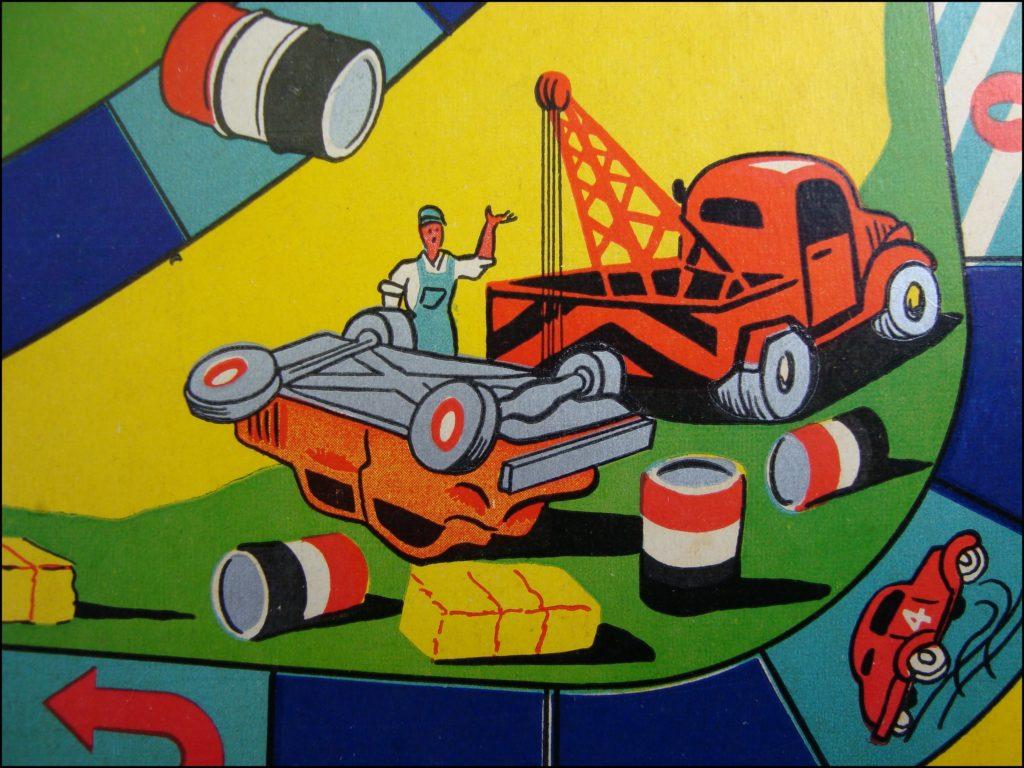 1955 1960 ; Grands jeux de Stocks Cars ; La Tour Saint Denis ; vintage car-themed board game ; ancien jeu de société automobile ; Antikes Brettspiel Thema Automobil Autospiel ;