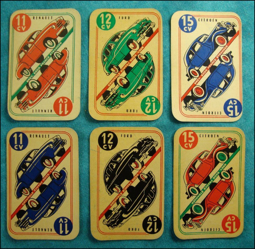 1951- 1954 ; Cart'Auto ; Citroën 2 CH ; Renault 4 CH ; Peugeot 203 ; Renault Frégate ; Ford Vedette ; Citroën 15 Traction ; vintage car-themed board game ; ancien jeu de société automobile ; Antikes Brettspiel Thema Automobil Autospiel ;