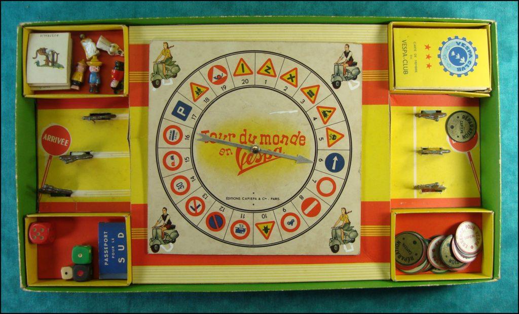 Le Tour du monde en Vespa ; Capiépa ; 1953 ; scooter ; vintage car-themed board game ; ancien jeu de société automobile ; Antikes Brettspiel Thema Automobil Autospiel ;
