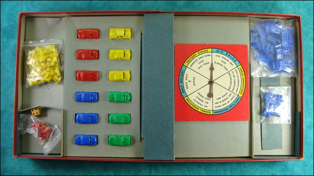 Brettspiel ; Board game ; Jeu de société ; Selchow & Righter ; 1953 ;  Assembly Line ; Plymouth ; Chevrolet ; Studebaker ; Ford ;