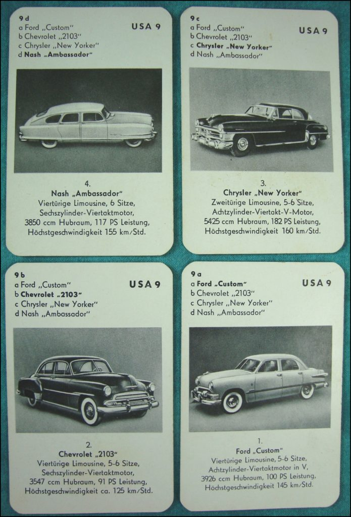 Brettspiel ; Board game ; Jeu de société ; 1953 - Auto-Quartett ; Ford Custom ; Chevrolet 2103 ; Chrysler New Yorker ; Nash Ambassador