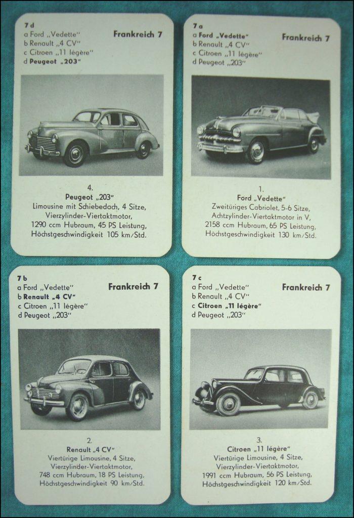 Brettspiel ; Board game ; Jeu de société ; 1953 - Auto-Quartett ; Ford Vedette ; Peugeot 203 ; Renault 4 CV ; Citroën Traction 11 légère ;