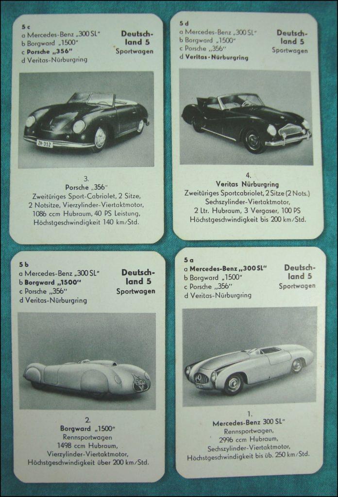 Brettspiel ; Board game ; Jeu de société ; 1953 - Auto-Quartett ; Mercedes 300 SL ; Borgward 1500 ; Porsche 356 ; Veritas Nürburgring