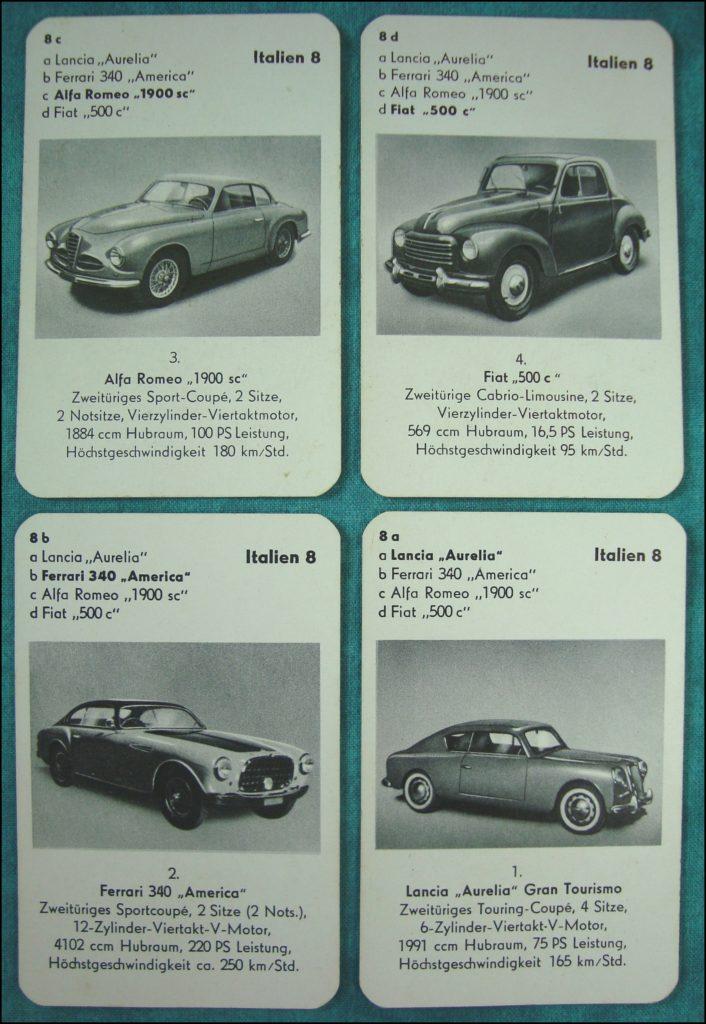 Brettspiel ; Board game ; Jeu de société ; 1953 - Auto-Quartett ; Lancia Aurelia ; Ferrari 340 America ; Alfa Romeo 1900 ; Fiat 500 c ;