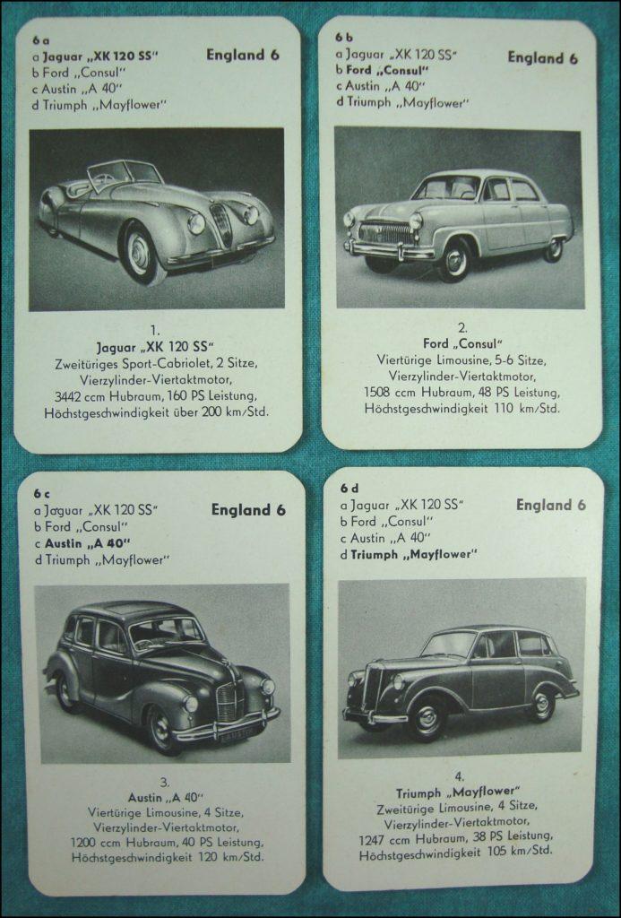 Brettspiel ; Board game ; Jeu de société ; 1953 - Auto-Quartett ; Jaguar XK 120 SS ; Ford Consul ; Austin A 40 ; Triumph Mayflower ;
