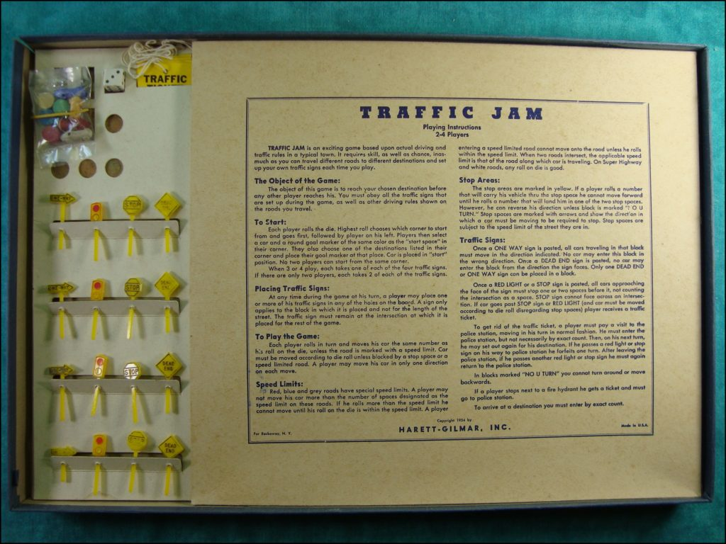 Brettspiel ; Board game ; Jeu de société ;  1954 ; Trafic jam ;  Harett Gilmar