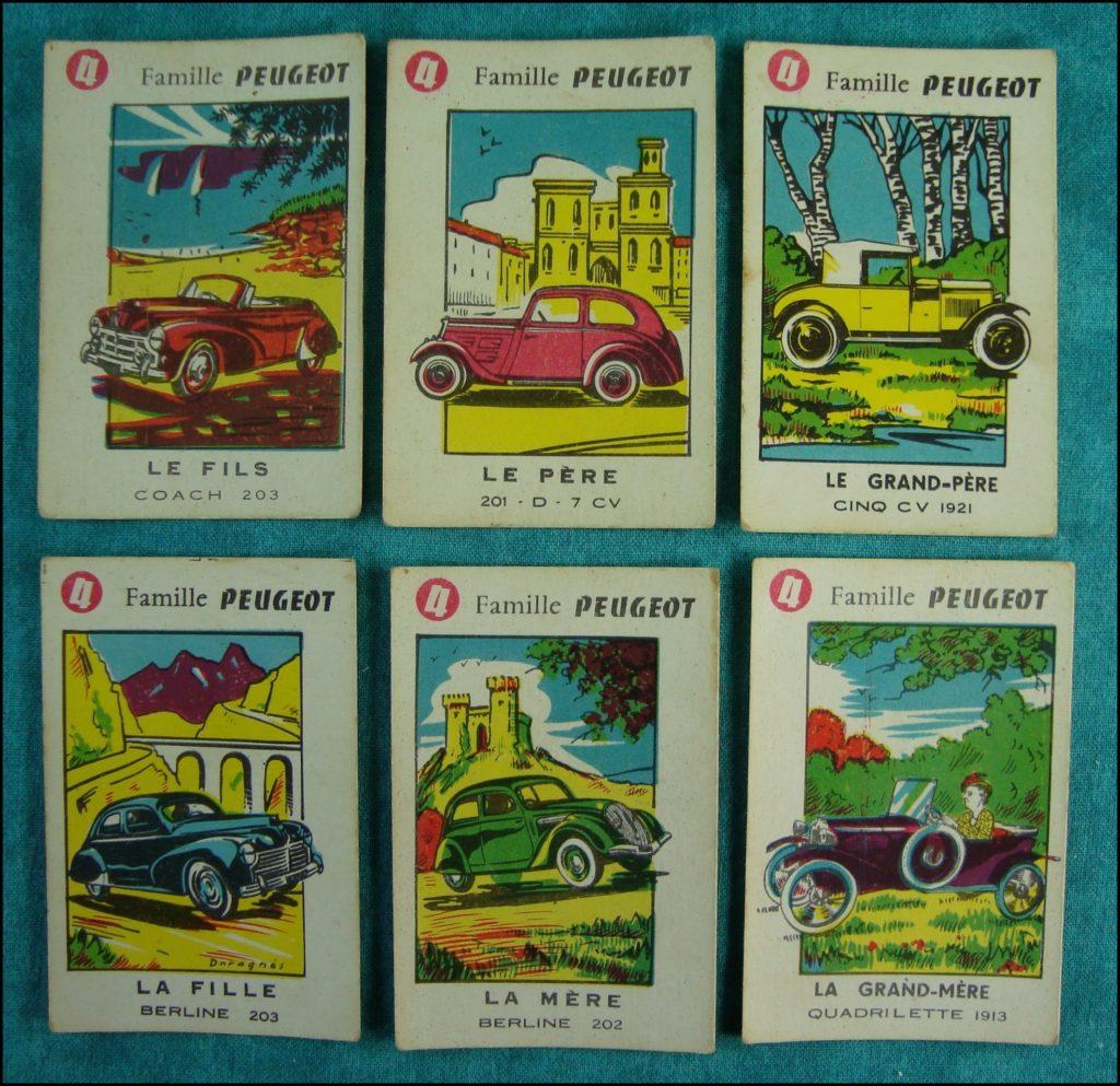 Daragnes ; 1954 - Jeu 7 familles Autos ; Citroën ; Ford (France) ; Panhard ; Peugeot ; Renault ; Simca ; Talbot ; vintage car-themed board game ; ancien jeu de société automobile ; Antikes Brettspiel Thema Automobil Autospiel ;