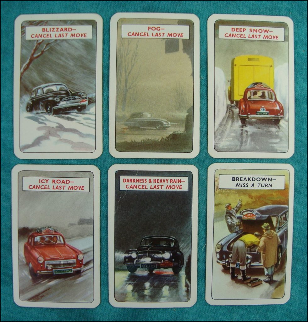 Brettspiel ; Board game ; Jeu de société ; 1954 ; Stirling Moss' Rally ; The game of the Monte-Carlo Rally ; Pepys ; Cadillac ; Oldsmobile ; Studebaker ; Renault Frégate ; Ford Zephyr ; Riley ; Jaguar ; Bentley ; Sunbeam Talbot ; M.G.