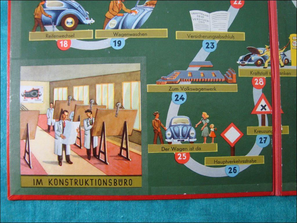 1954 ; Dein Volkswagen ; Hausser ; Käfer ; Coccinelle porcelaine ; porcelain Beetle ; split window ; vintage car-themed board game ; ancien jeu de société automobile ; Antikes Brettspiel Thema Automobil Autospiel ;