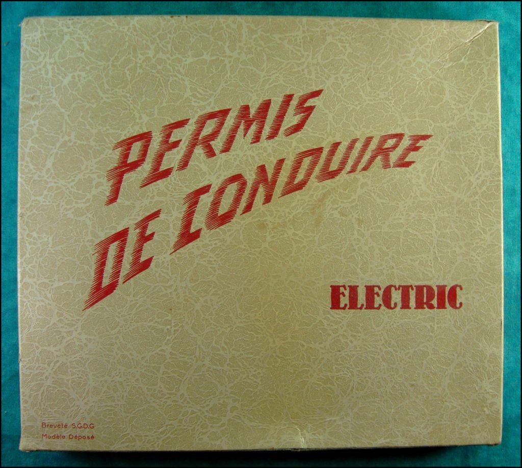 1955/59 - Permis de Conduire Electrique ;  Jouets Éducatifs Universels ; vintage car-themed board game ; ancien jeu de société automobile ; Antikes Brettspiel Thema Automobil Autospiel ;