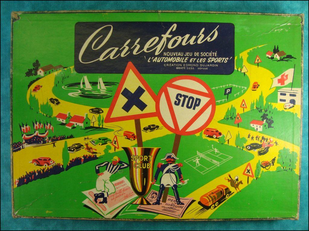 1955 - Carrefours ; Edmond Dujardin Arcachon ;  vintage car-themed board game ; ancien jeu de société automobile ; Antikes Brettspiel Thema Automobil Autospiel ;