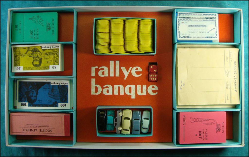 1955/60 ; Rallye Banque ; Jouef HO ; Micro-Norev ; Citroën DS ; Simca Ariane ; Simca Aronde ; Renault Dauphine ; Peugeot 403 ; Panhard Dyna ; vintage car-themed board game ; ancien jeu de société automobile ; Antikes Brettspiel Thema Automobil Autospiel ;