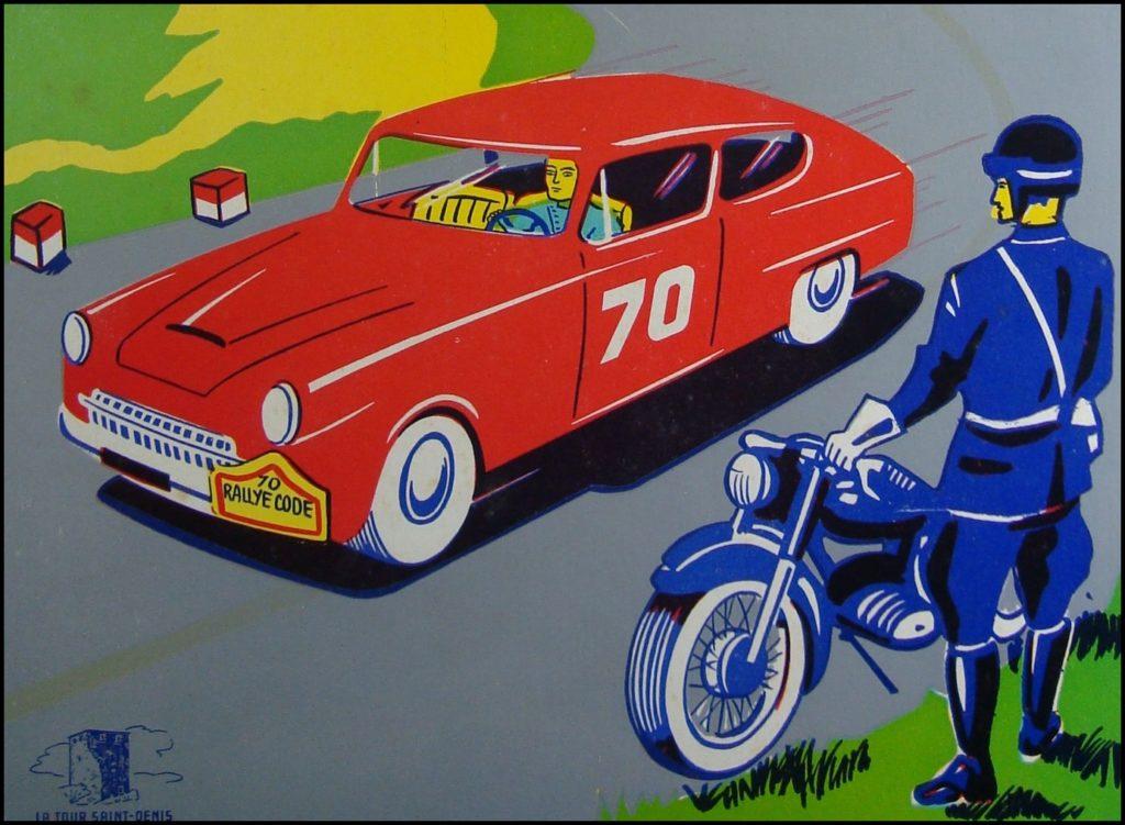 1955/60 ; Rallye-Code ; La Tour Saint Denis ; vintage car-themed board game ; ancien jeu de société automobile ; Antikes Brettspiel Thema Automobil Autospiel ;