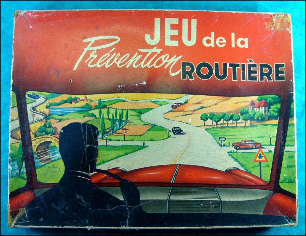 1955/60 ; Jeu de la Prévention Routière ; Citroën 2 ch camionnette ; Panhard Dyna ; vintage car-themed board game ; ancien jeu de société automobile ; Antikes Brettspiel Thema Automobil Autospiel ;