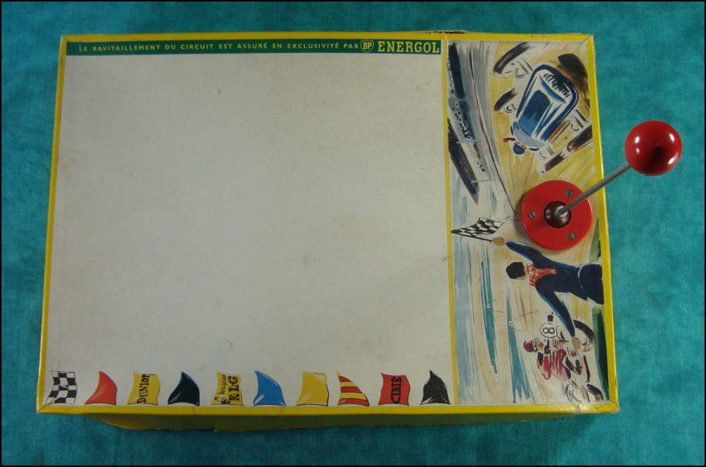 Brettspiel ; Board game ; Jeu de société ; 1955/60 ; Moto-cross aimanté ; Assemblo ; BP Energol ; bougies K.L.G. ; Dunlop ; Cibié