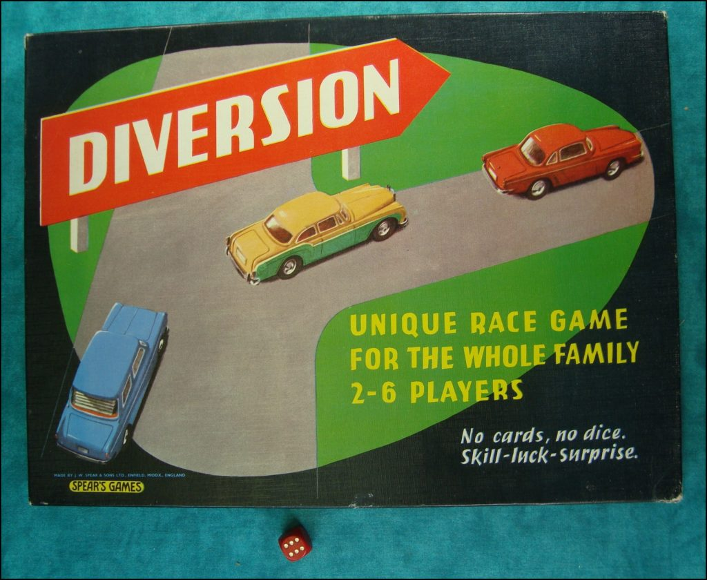 Brettspiel ; Board game ; Jeu de société ; 1957 ; Diversion ; Spear Games ; Bentley Continental Sports Saloon ; Renault Floride ;