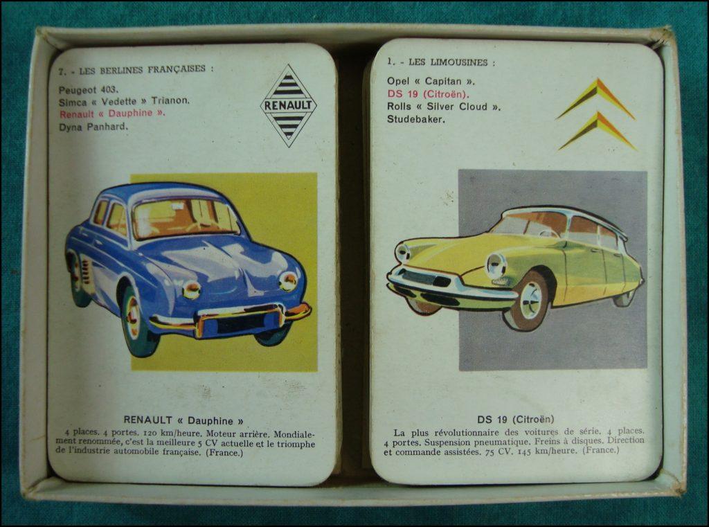 1958 - Les Autos, 7 familles ; Nathan ; Renault Dauphine ; Citroën DS ; Peugeot 403 ; Simca Chambord ; vintage car-themed board game ; ancien jeu de société automobile ; Antikes Brettspiel Thema Automobil Autospiel ;