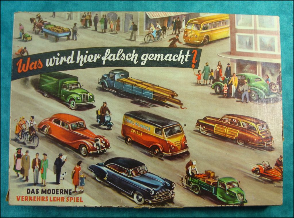 Brettspiel ; Board game ; Jeu de société ; 1952 - Was wird hier falsch gemacht ? ; triporteur TEMPO HANSEAT 1951 ; Packard 1948 Standard Eight Station Sedan 220 ; Chevrolet 1950 1951 Deluxe Styleline ; Jaguar 1949 Mark 5