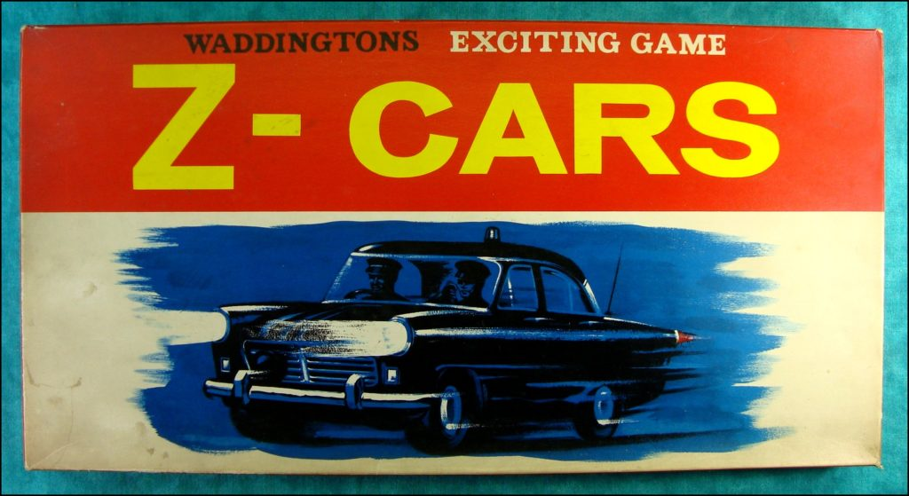 Brettspiel ; Board game ; Jeu de société ; 1960 ; Z Cars game ; Waddingtons ; Ford Zéphyr ; Ford Zodiac