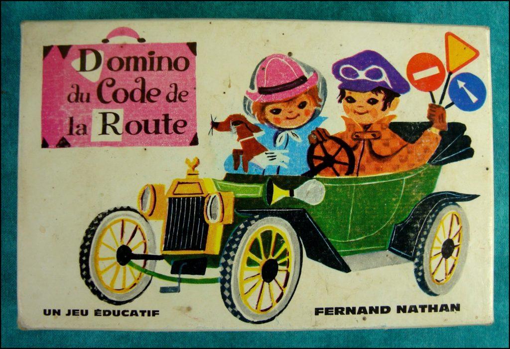 1960/65 - Domino du Code de la Route ; Nathan ; vintage car-themed board game ; ancien jeu de société automobile ; Antikes Brettspiel Thema Automobil Autospiel ;