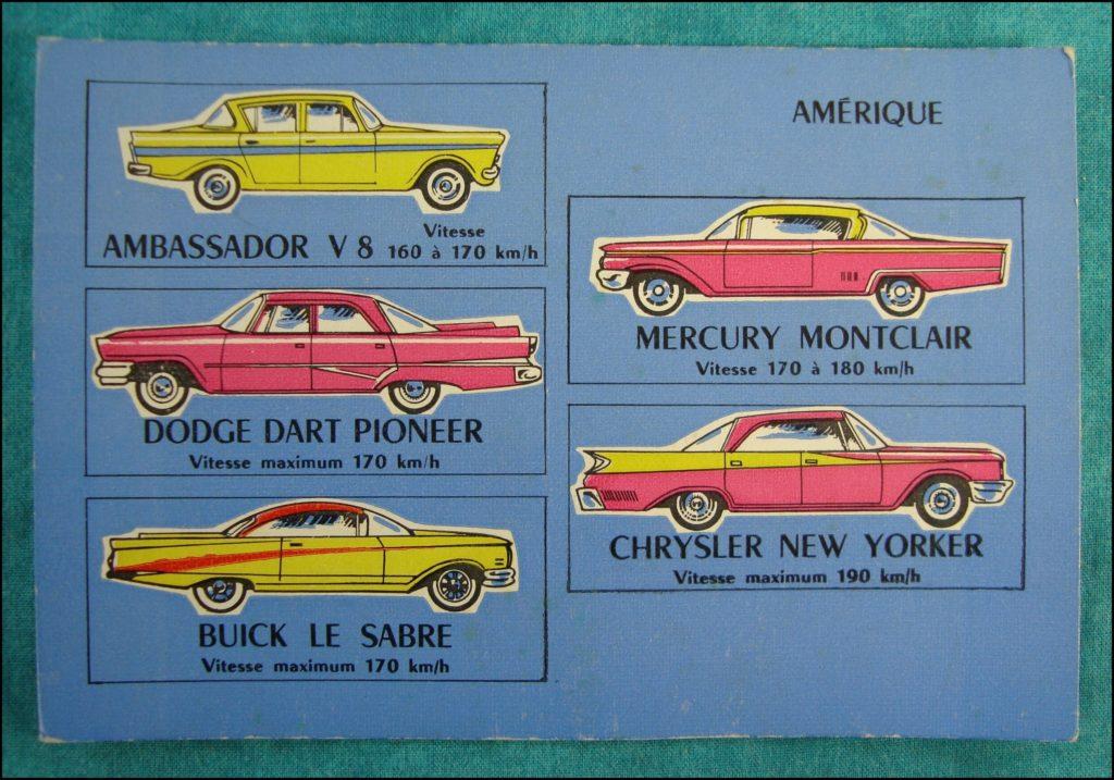 1960 - Loto des voitures ; Ambassador ; Mercury Montclair ; Dodge Dart Pioneer ; Chrysler New Yorker ; Buick Le Sabre ; 1960 - Loto des voitures ; vintage car-themed board game ; ancien jeu de société automobile ; Antikes Brettspiel Thema Automobil Autospiel ;