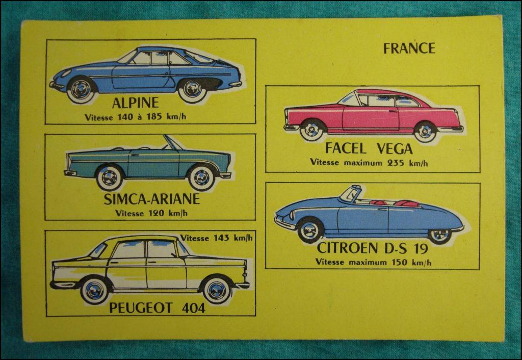 1960 - Loto des voitures ; Alpine ; Facel Vega ; Simca Ariane ; Peugeot 404 ; Citroën DS 19 ; vintage car-themed board game ; ancien jeu de société automobile ; Antikes Brettspiel Thema Automobil Autospiel ;