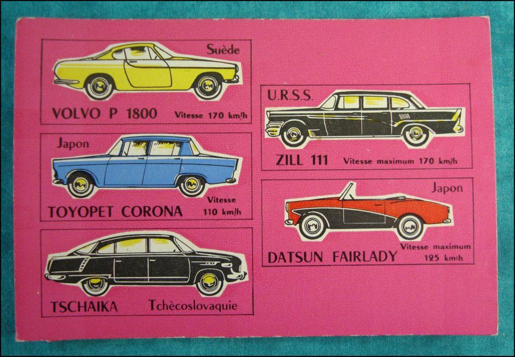 1960 - Loto des voitures ; Volvo P 1800 ; Toyopet Corona ; Tschaika ; Zill 111 ; Datsun Fairlady ; vintage car-themed board game ; ancien jeu de société automobile ; Antikes Brettspiel Thema Automobil Autospiel ;