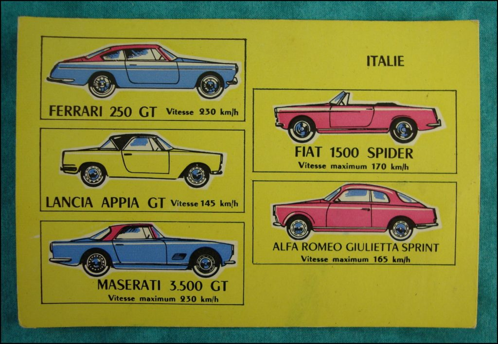 1960 - Loto des voitures ; Ferrari 250 GT ; Lancia Appia ; Maserati 3500 GT ; Fiat 1500 spider ; Alfa Romeo Giulietta Sprint ; vintage car-themed board game ; ancien jeu de société automobile ; Antikes Brettspiel Thema Automobil Autospiel ;