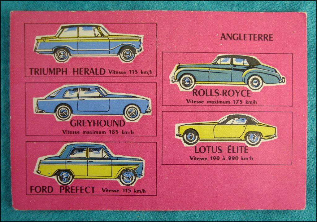 1960 - Loto des voitures ; Triumph Herald ; Greyhound ; Rolls Royce ; Lotus Elite ; Ford Perfect ; vintage car-themed board game ; ancien jeu de société automobile ; Antikes Brettspiel Thema Automobil Autospiel ;