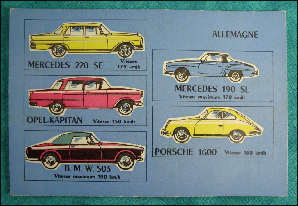 1960 - Loto des voitures ; Mercedes 220 SE ; Opel Kapitan ; BMW 503 ; Mercedes 190 SL ; Porsche 1600 ; vintage car-themed board game ; ancien jeu de société automobile ; Antikes Brettspiel Thema Automobil Autospiel ;