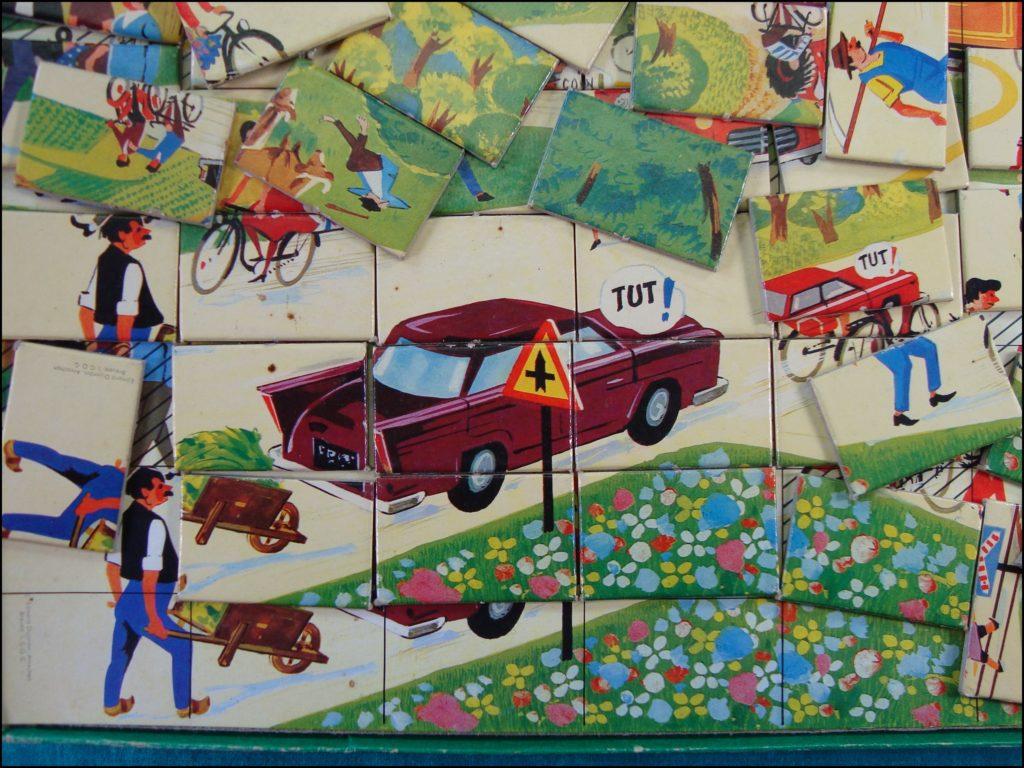1961 - Tacotac ; Dujardin ; Prévention Routière ; vintage car-themed board game ; ancien jeu de société automobile ; Antikes Brettspiel Thema Automobil Autospiel ;