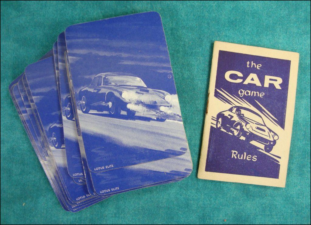 Brettspiel ; Board game ; Jeu de société ; 1961 ;  The car game ; Pepys ; Facel Vega ; Cadillac ; Porsche ; Lotus ; Vauxhall Cresta ; Bentley Continental ; Sunbeam ; Morris Cowley ; B.R.M. ; Bugatti Royale ; Citroën DS 19 ; Daimler Majestic ; Aston Martin ; Vanguard Standard ; Vauxhall ; Porsche ; Mercedes ; Sunbeam Alpine ; Alvis ; Scarab ; Rover ; Triumph ;  Lotus Elite ; Bluebird ; Ford Zodiac ; Railton Special ; Rolls Royce ; Bentley ; Cooper ; Jaguar ;