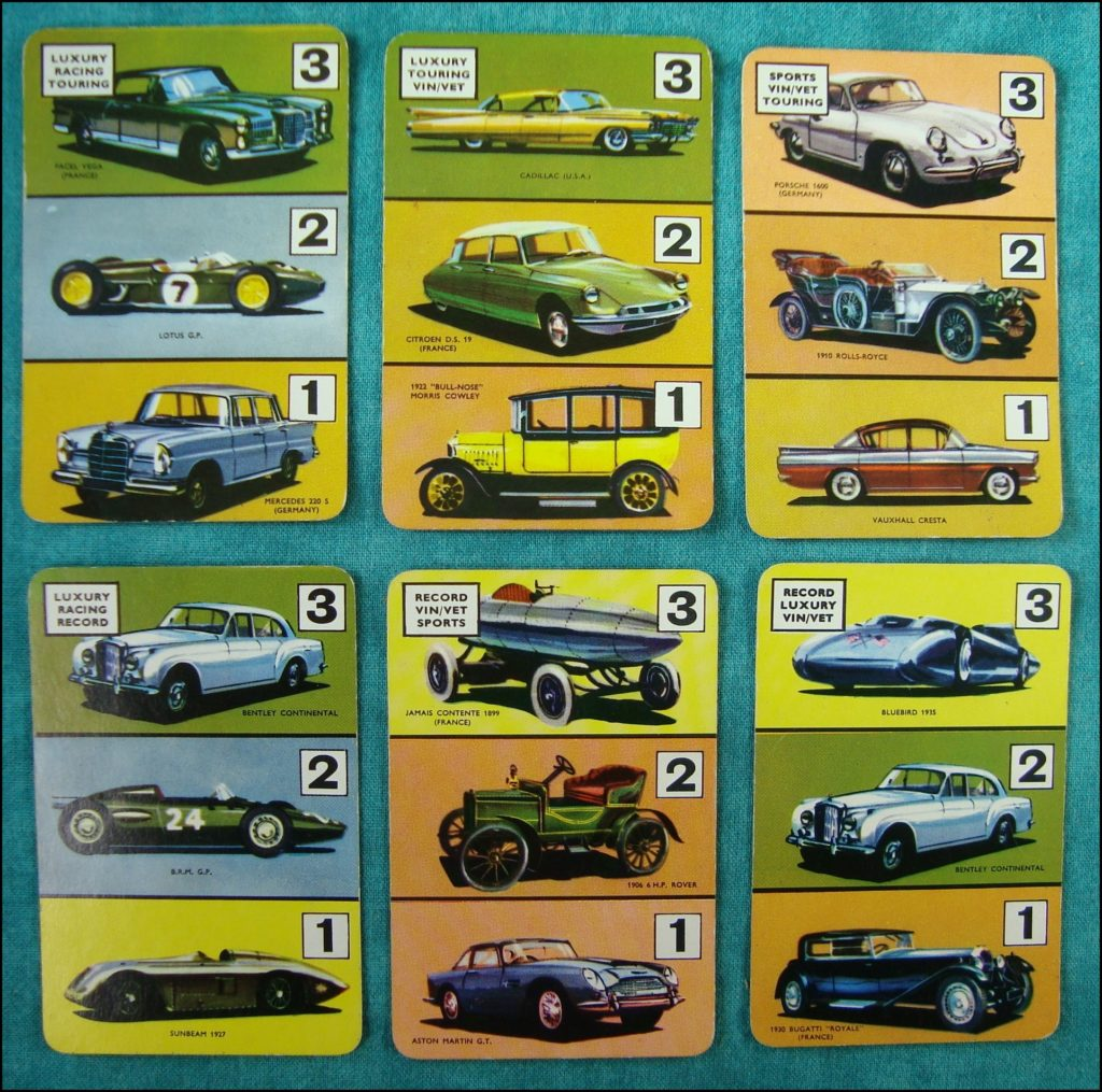 Brettspiel ; Board game ; Jeu de société ; 1961 ;  The car game ; Pepys ; Facel Vega ; Cadillac ; Porsche ; Lotus ; Vauxhall Cresta ; Bentley Continental ; Sunbeam ; Morris Cowley ; B.R.M. ; Bugatti Royale ;