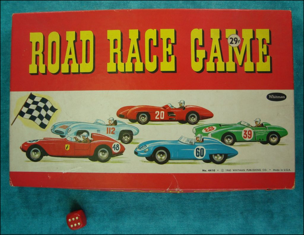 Brettspiel ; Board game ; Jeu de société ; Whitman ; 1960 ; Road race game ; 1948 Studebaker Commander Starlight ;