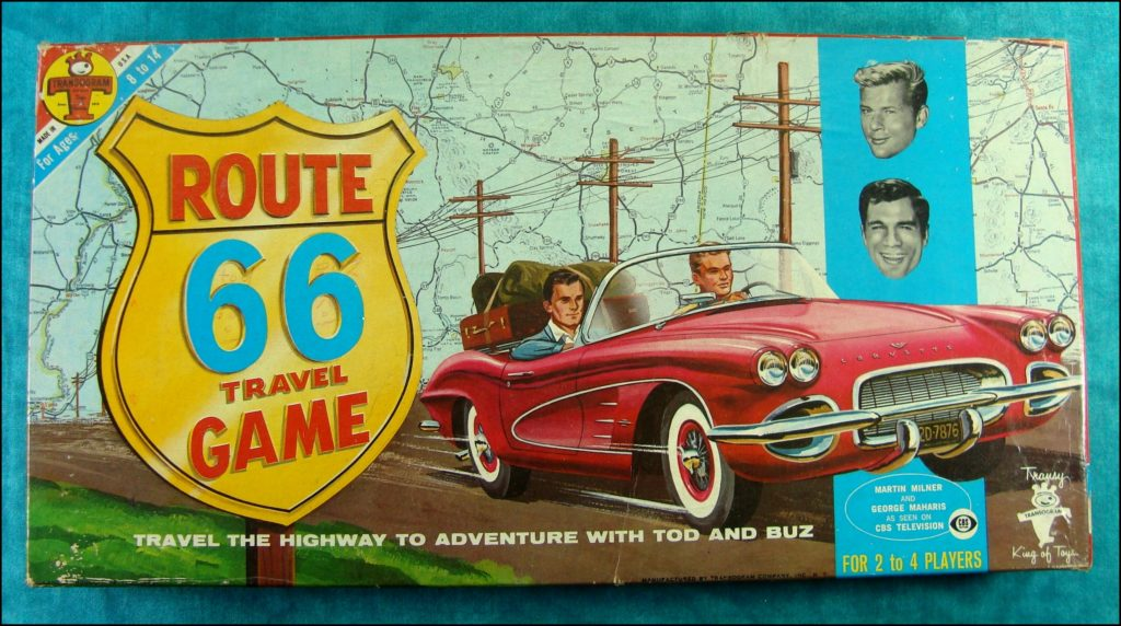 Brettspiel ; Board game ; Jeu de société ;   Route 66 travel game ; Transogram ; Chevrolet Corvette ; Tod and Buz ; Martin Milner ; George Maharis ; CBS Television ;
