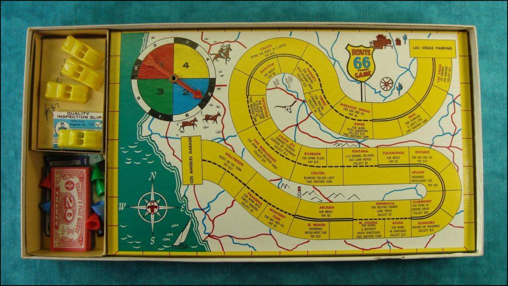 Brettspiel ; Board game ; Jeu de société ; Route 66 travel game ; Transogram ; Chevrolet Corvette ; Tod and Buz ; Martin Milner ; George Maharis ; CBS Television ;