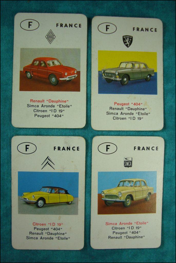 Brettspiel ; Board game ; Jeu de société ; 1962 ; Jeu des Autos ; Auto-Quartett ; Jumbo ; Renault Dauphine ; Peugeot 404 ; Citroën ID DS 19 ; Simca Aronde Etoile 6 ;