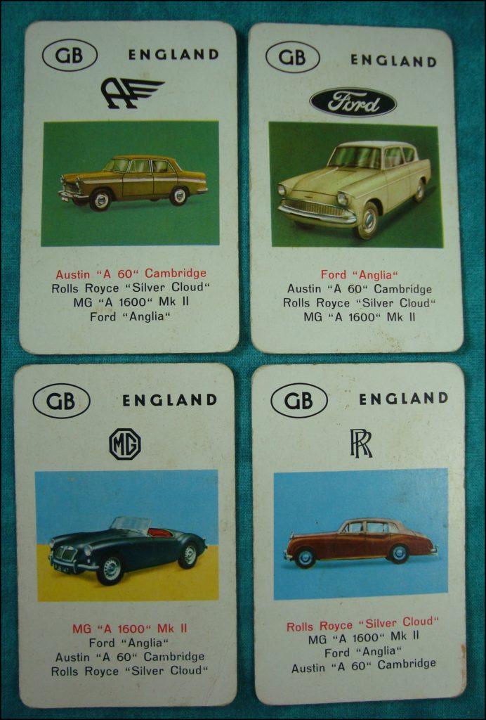 Brettspiel ; Board game ; Jeu de société ; 1962 ; Jeu des Autos ; Auto-Quartett ; Jumbo ; Austin Cambridge ; Rolls Royce Silver Cloud ; MG 1600 Mk II ; Ford Anglia ;