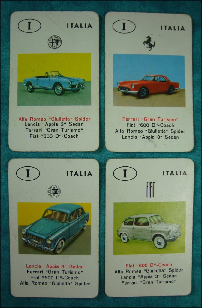 Brettspiel ; Board game ; Jeu de société ; 1962 ; Jeu des Autos ; Auto-Quartett ; Jumbo ; Alfa Romeo Giuletta Spider ; Lancia Appia ; Ferrari Gran Turismo ; Fiat 600 D