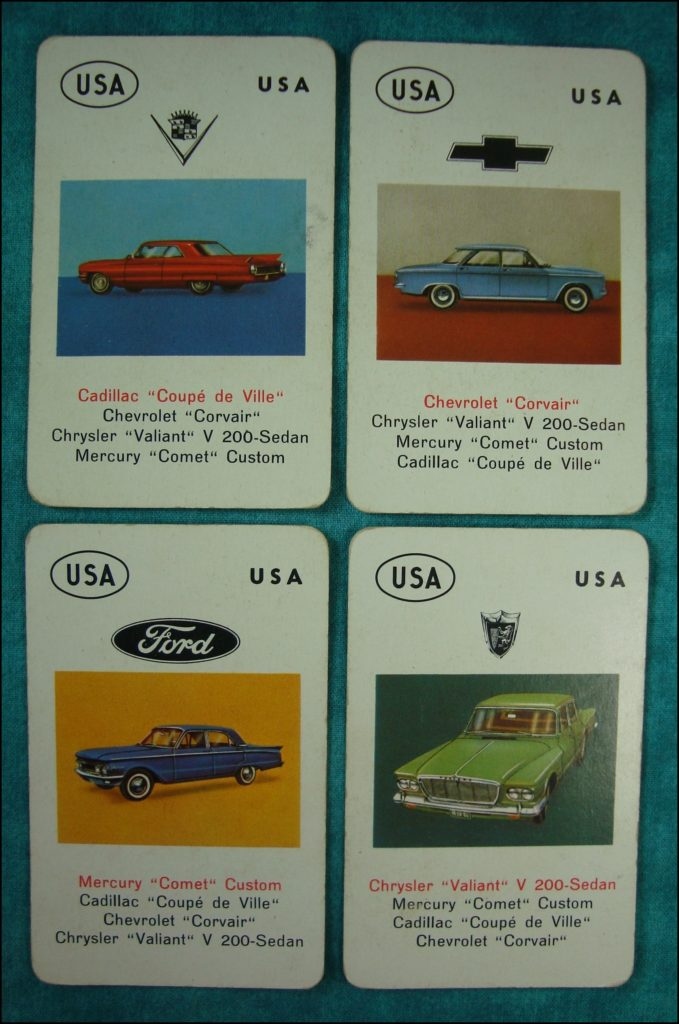 Brettspiel ; Board game ; Jeu de société ; 1962 ; Jeu des Autos ; Auto-Quartett ; Jumbo ; Cadillac Coupe de Ville ; Chevrolet Corvair ; Chrysler Valiant ; Mercury Comet Custom ;