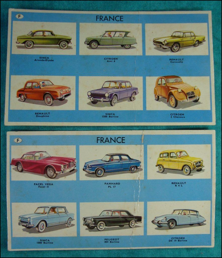 1964 - Jeu de Lotomobile ; Willeb ; Facel Vega Facel II ; Citroën DS 19 ; Simca 1000 ; Panhard PL 17 ; Renault 4L ; Peugeot 404 ; Simca Aronde Elysée ; Citroën Ami 6 ; 2 CH ; Renault Caravelle Dauphine ; Simca 1500 ; Dodge Custom 880 ; Cadillac Fleetwood ; Ford Fairlane 500 ; Studebaker Lark ; Lincoln Continental ; Buick Electra ; Sunbeam Alpin II ; Rolls Royce Phantom V ; Austin 1100 ; Humber Sceptre ; Aston-Martin DB4 Zagato ; Hillman ; Porsche 356 ; Opel Kapitan ; BMW 1800 ; Volkswagen 1200 ; Mercedes 190 ; Auto Union DKW 1000 S ; Maserati 3500 ; Moretti 2500 ; Ferrari 250 GT ; Alfa Romeo 2600 Sprint ; Siata 1500 ; Lancia Flavia