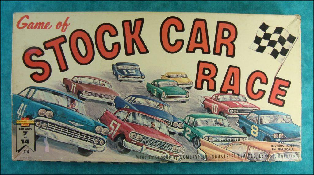 Brettspiel ; Board game ; Jeu de société ; 1965 ; Stock car race ; Somerville Canada ; Chevrolet Bel Air 1958