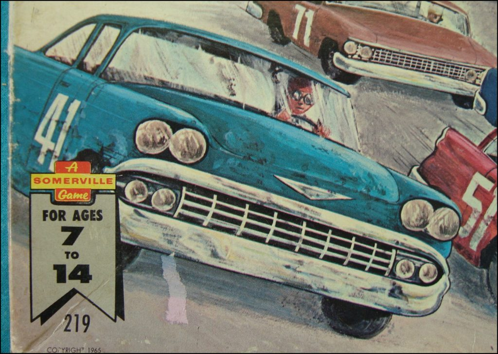 Brettspiel ; Board game ; Jeu de société ;   1965 ; Stock car race ; Somerville Canada ; Chevrolet Bel Air 1958