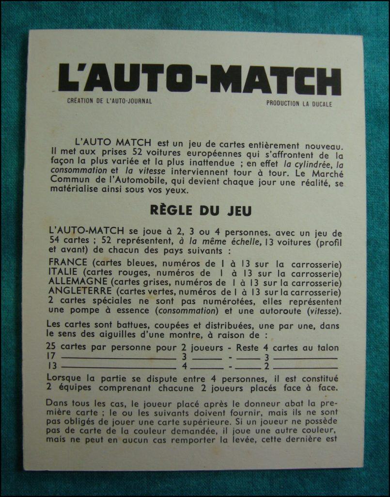 1965 - L'auto Match ; La Ducale ; rules ; règle du jeu ; vintage car-themed board game ; ancien jeu de société automobile ; Antikes Brettspiel Thema Automobil Autospiel